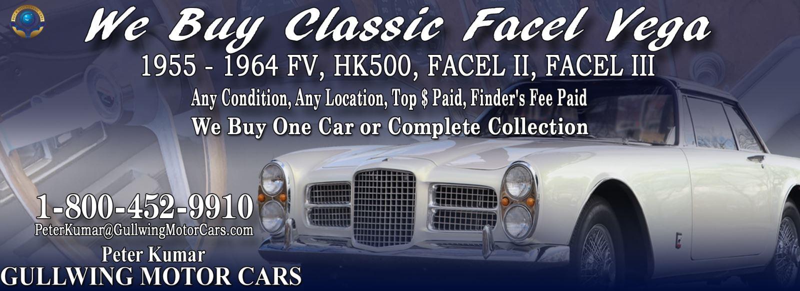 Classic Facel Vega for sale, we buy vintage Facel Vega. Call Peter Kumar. Gullwing Motor