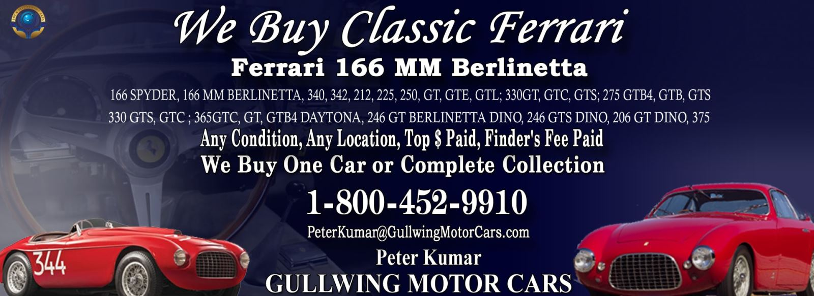 Classic Ferrari 166 MM for sale, we buy vintage Ferrari 166MM. Call Peter Kumar. Gullwing Motor