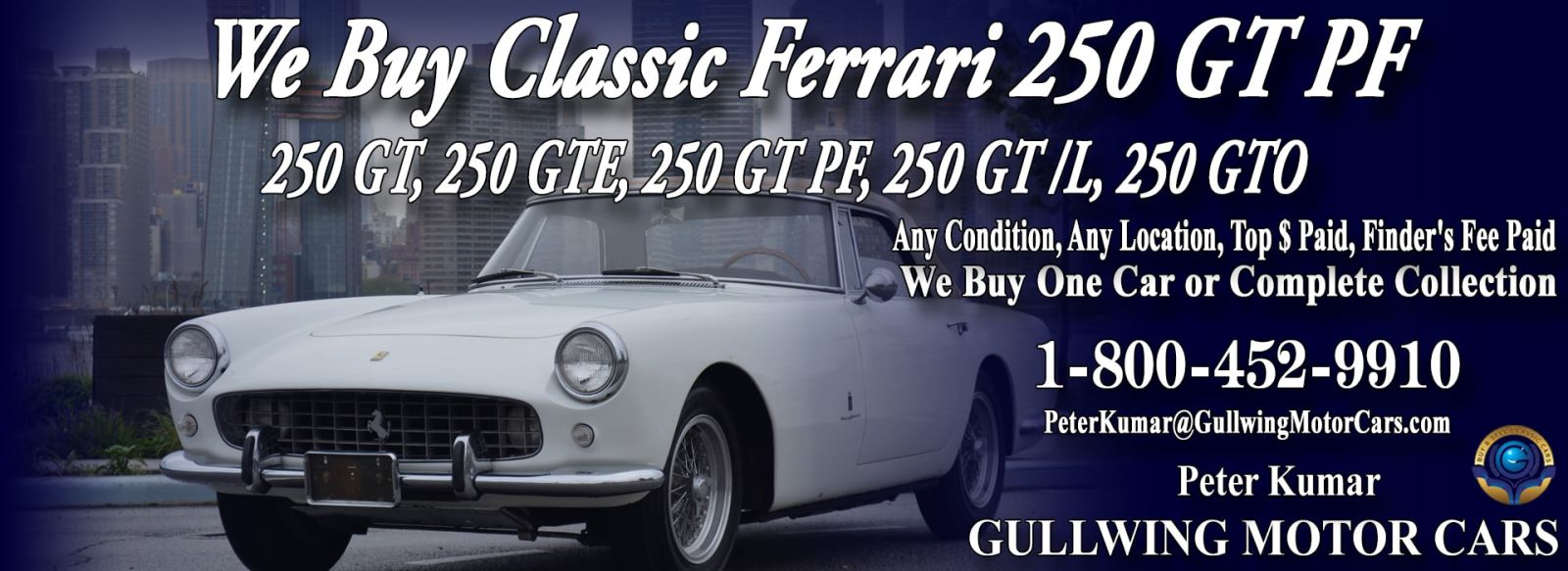 Classic Ferrari 250 GT PF for sale, we buy vintage Ferrari 250GT PF. Call Peter Kumar. Gullwing Motor