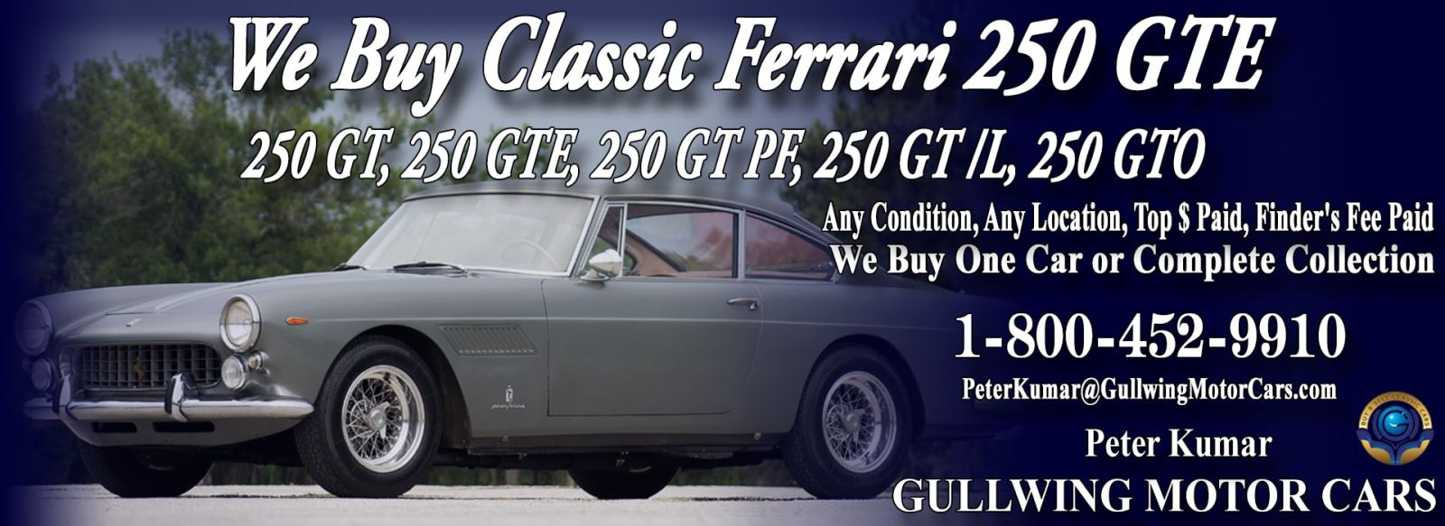 Classic Ferrari 250 GTE for sale, we buy vintage Ferrari 250GTE. Call Peter Kumar. Gullwing Motor
