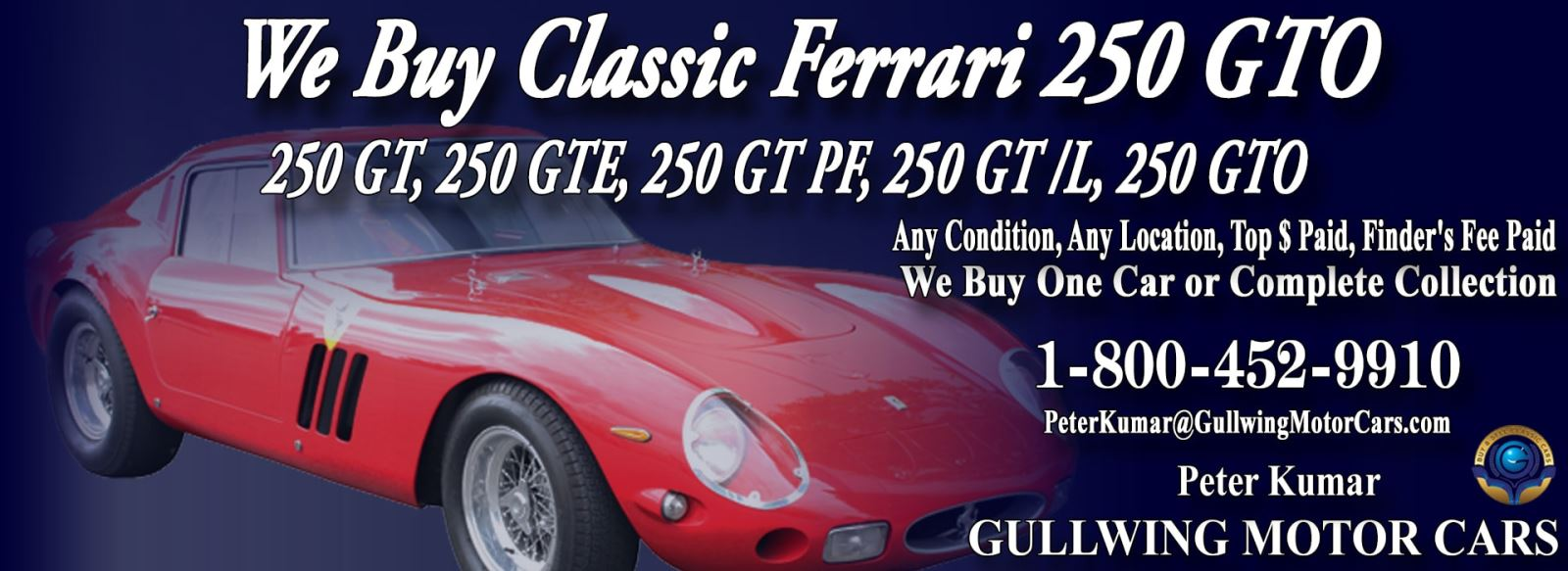Classic Ferrari 250 GTO for sale, we buy vintage Ferrari 250GTO. Call Peter Kumar. Gullwing Motor