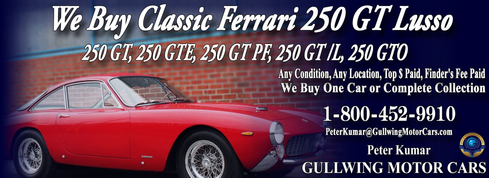 Classic Ferrari 250 GT Lusso for sale, we buy vintage Ferrari 250GT Lusso. Call Peter Kumar. Gullwing Motor