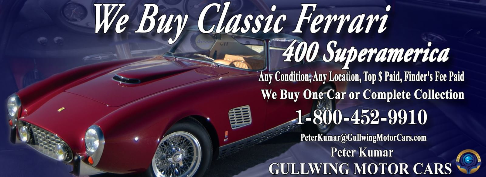 Classic Ferrari 400 Superamerica for sale, we buy vintage Ferrari 400 Superamerica. Call Peter Kumar. Gullwing Motor