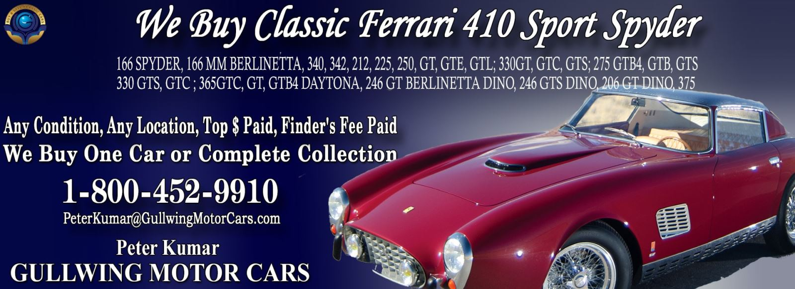 Classic Ferrari 410 for sale, we buy vintage Ferrari 410. Call Peter Kumar. Gullwing Motor