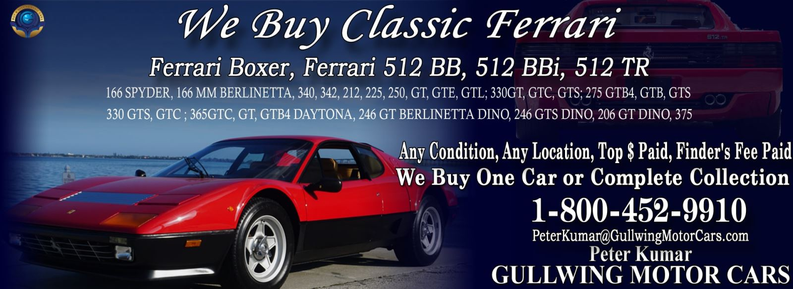 Classic Ferrari 512 BB for sale, we buy vintage Ferrari 512BB. Call Peter Kumar. Gullwing Motor