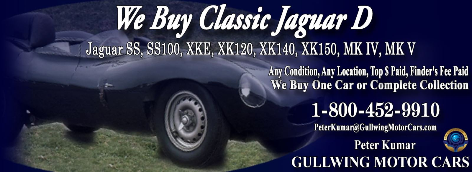 Classic Jaguar for sale, we buy vintage Jaguar D-Type. Call Peter Kumar. Gullwing Motor