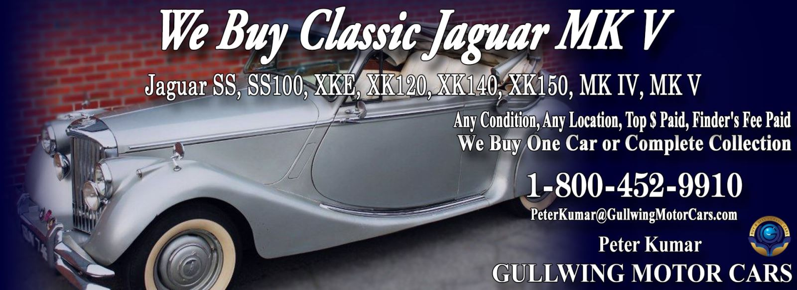 Classic Jaguar for sale, we buy vintage Jaguar Mark V. Call Peter Kumar. Gullwing Motor