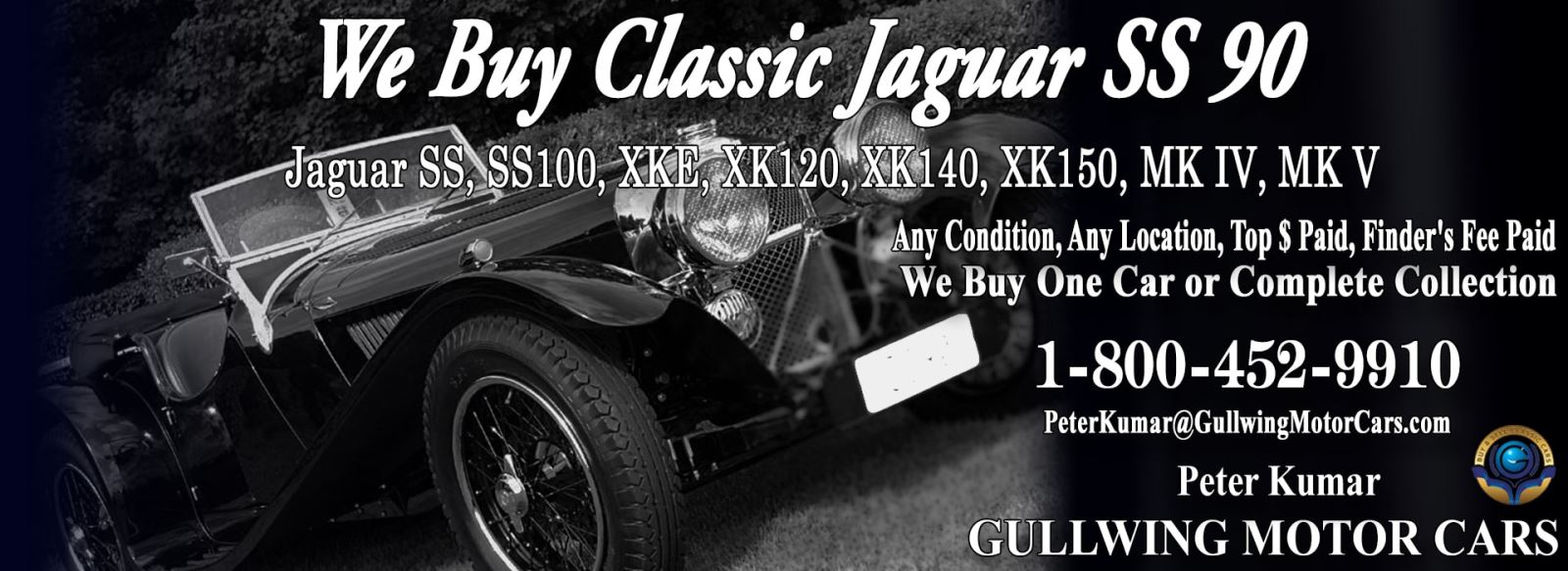 Classic Jaguar for sale, we buy vintage Jaguar SS90. Call Peter Kumar. Gullwing Motor