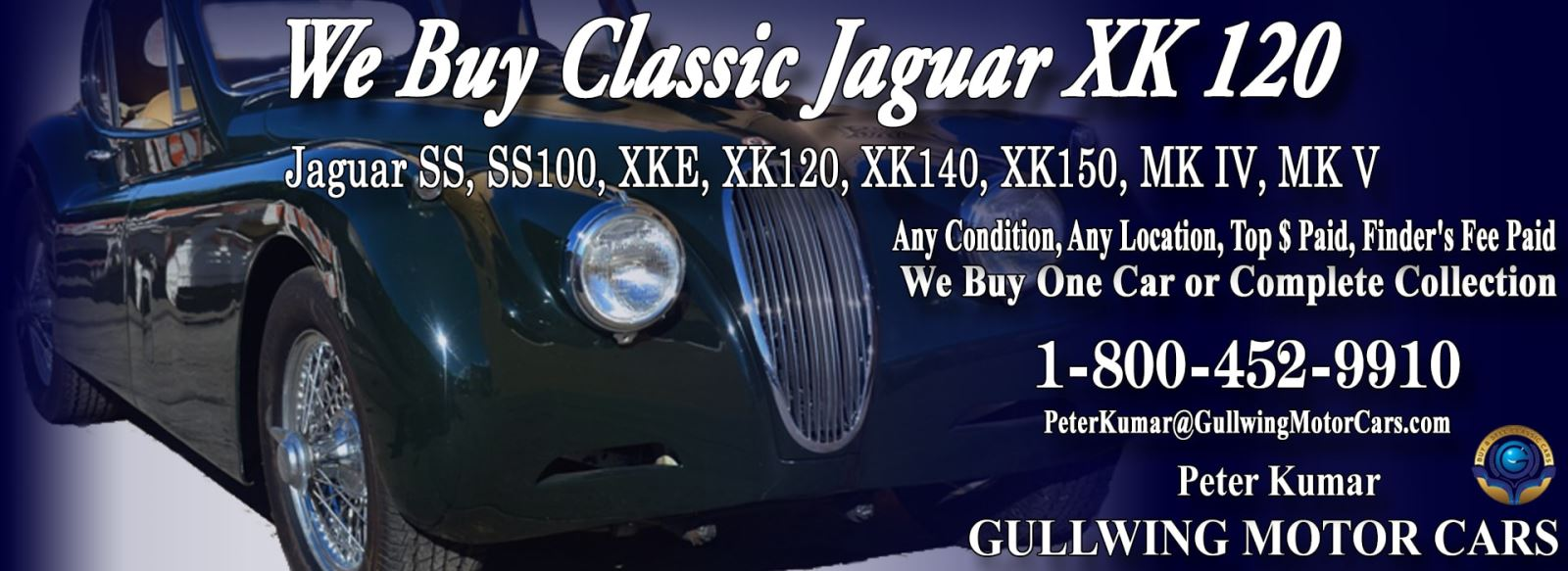 Classic Jaguar for sale, we buy vintage Jaguar XK120. Call Peter Kumar. Gullwing Motor