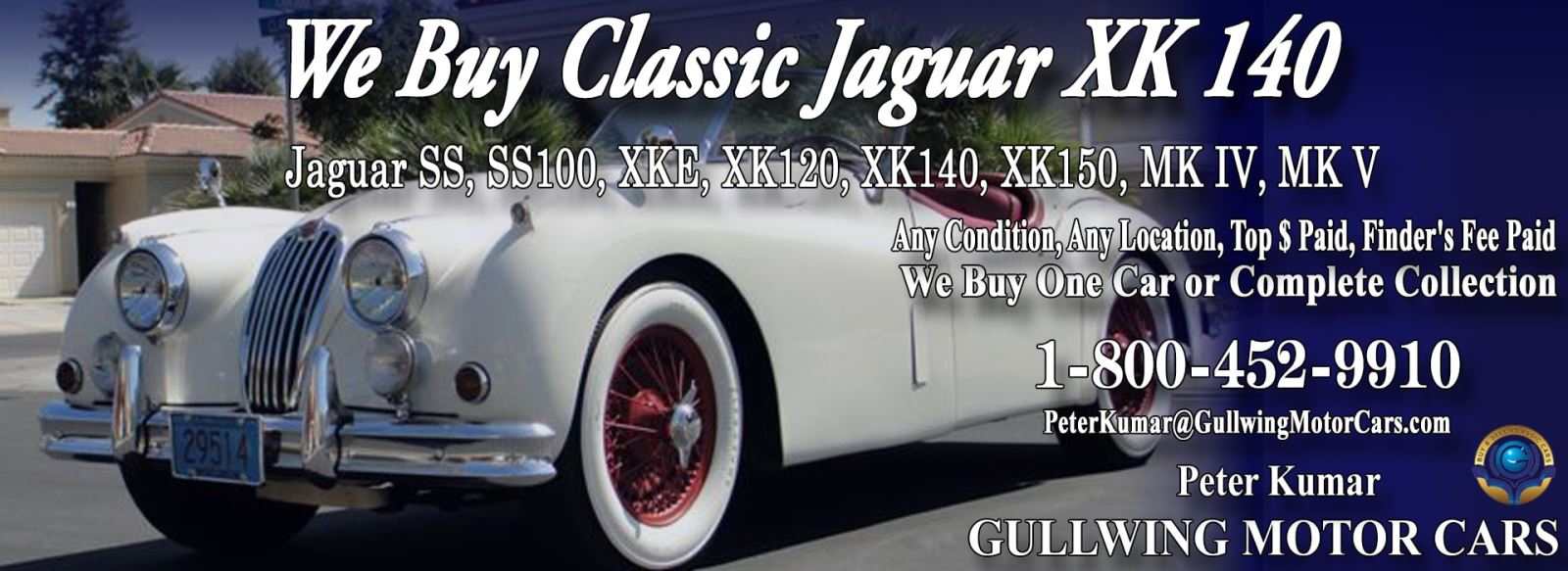 Classic Jaguar for sale, we buy vintage Jaguar XK140. Call Peter Kumar. Gullwing Motor