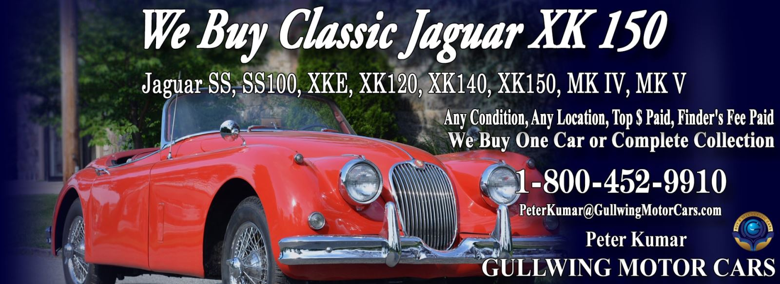 Classic Jaguar for sale, we buy vintage Jaguar XK150. Call Peter Kumar. Gullwing Motor