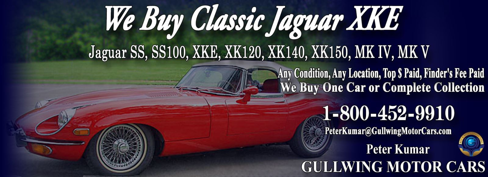Classic Jaguar for sale, we buy vintage Jaguar XKE. Call Peter Kumar. Gullwing Motor