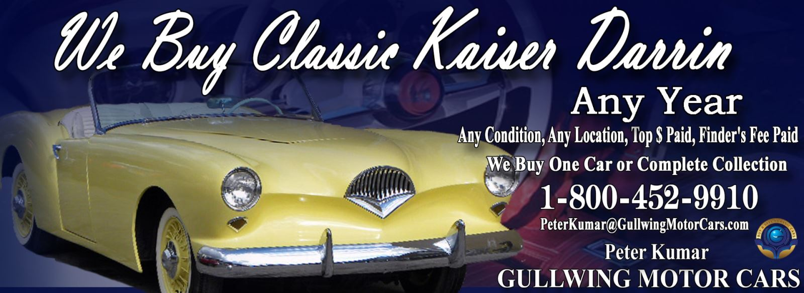 Classic Kaiser Darrin for sale, we buy vintage Kaiser Darrin. Call Peter Kumar. Gullwing Motor