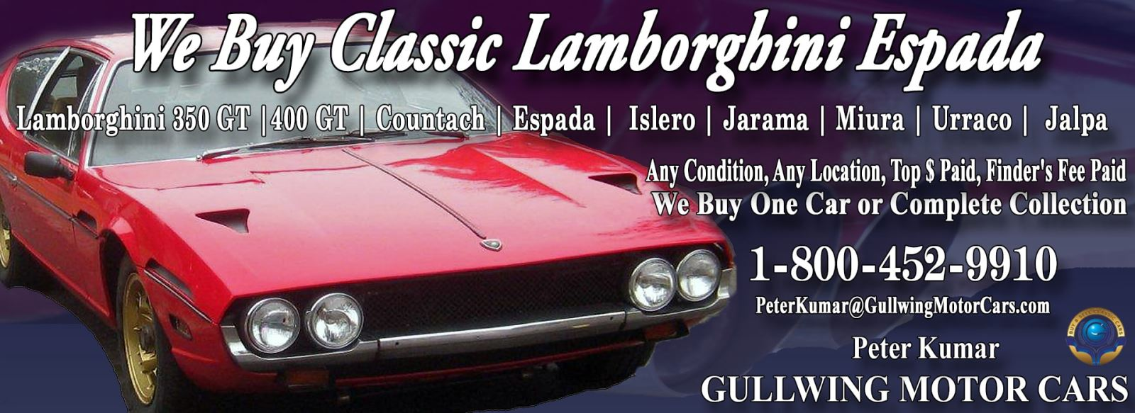 Classic Lamborghini Espada for sale, we buy vintage Lamborghini Espada. Call Peter Kumar. Gullwing Motor