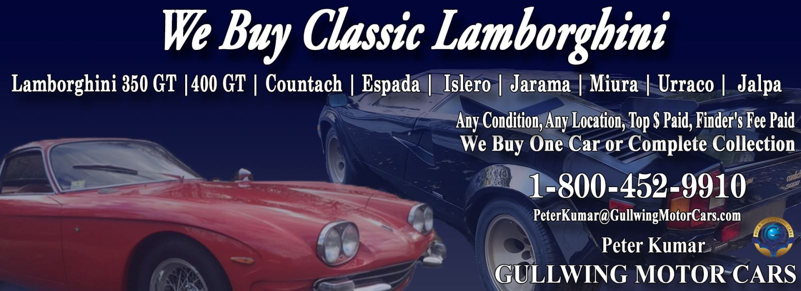 Classic Lamborghini Jalpa for sale, we buy vintage Lamborghini Jalpa. Call Peter Kumar. Gullwing Motor