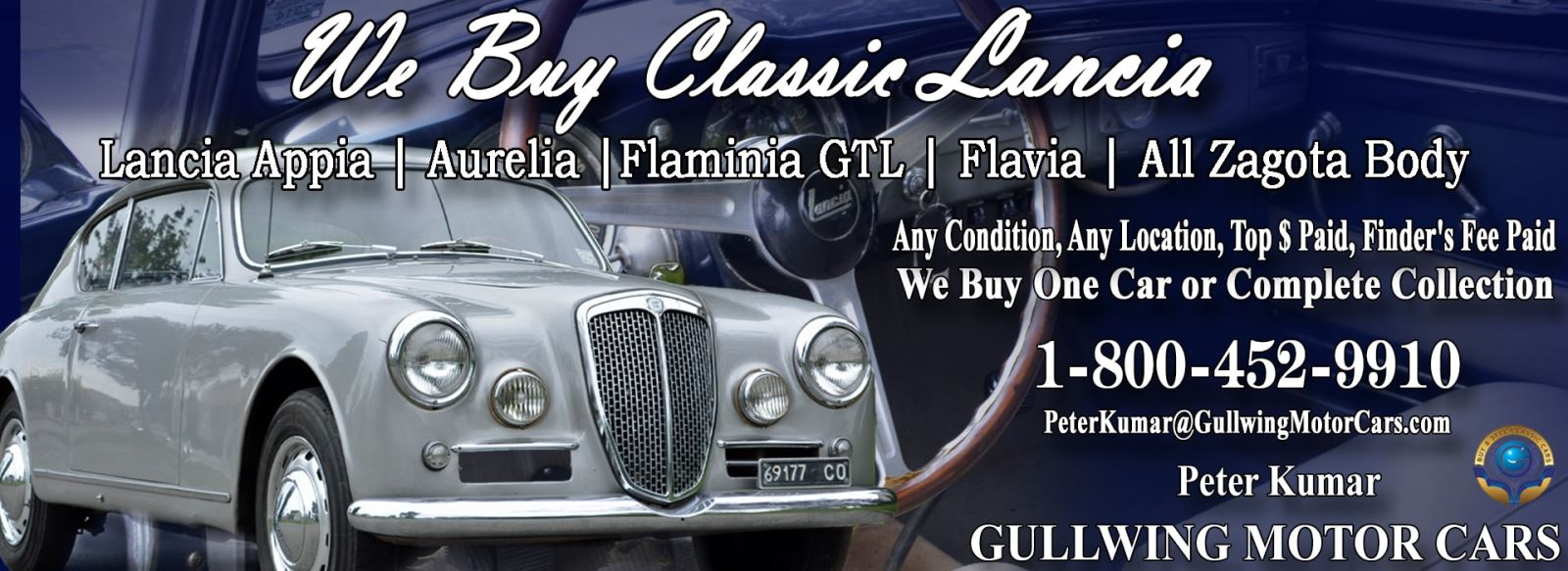 Classic Lancia for sale, we buy vintage Lancia. Call Peter Kumar. Gullwing Motor