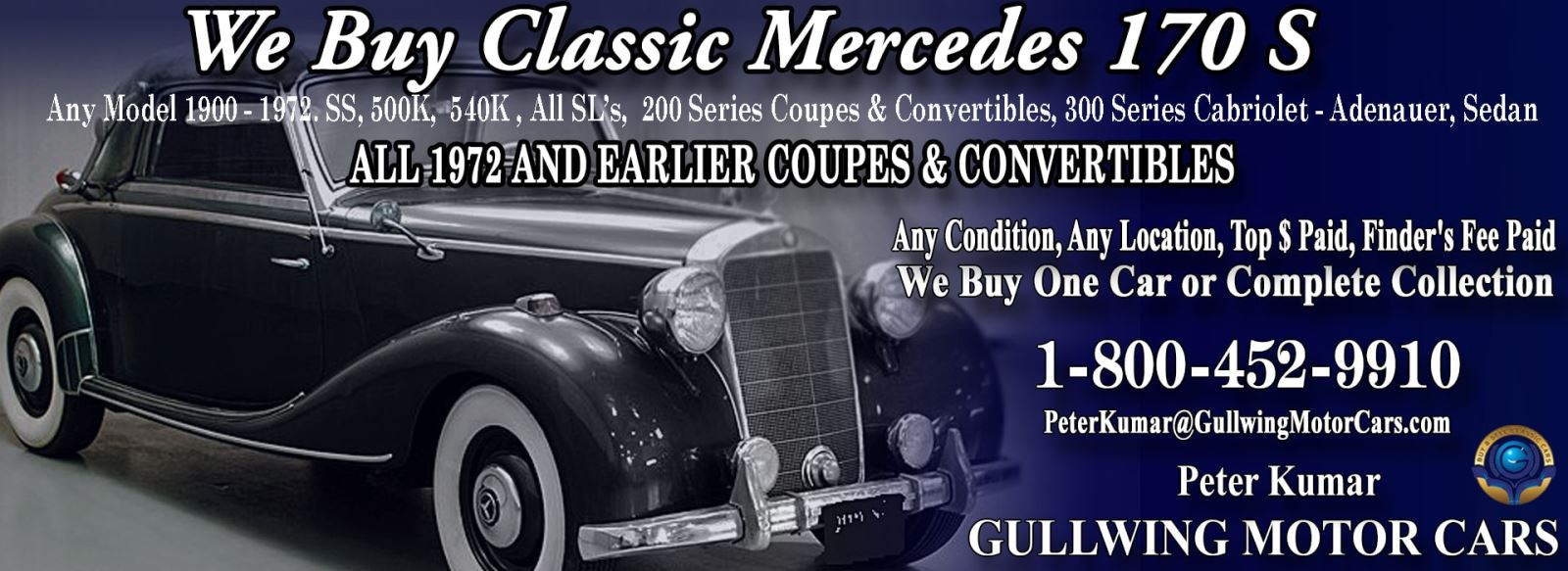 Classic Mercedes 170S for sale, we buy vintage Mercedes 170S. Call Peter Kumar. Gullwing Motor