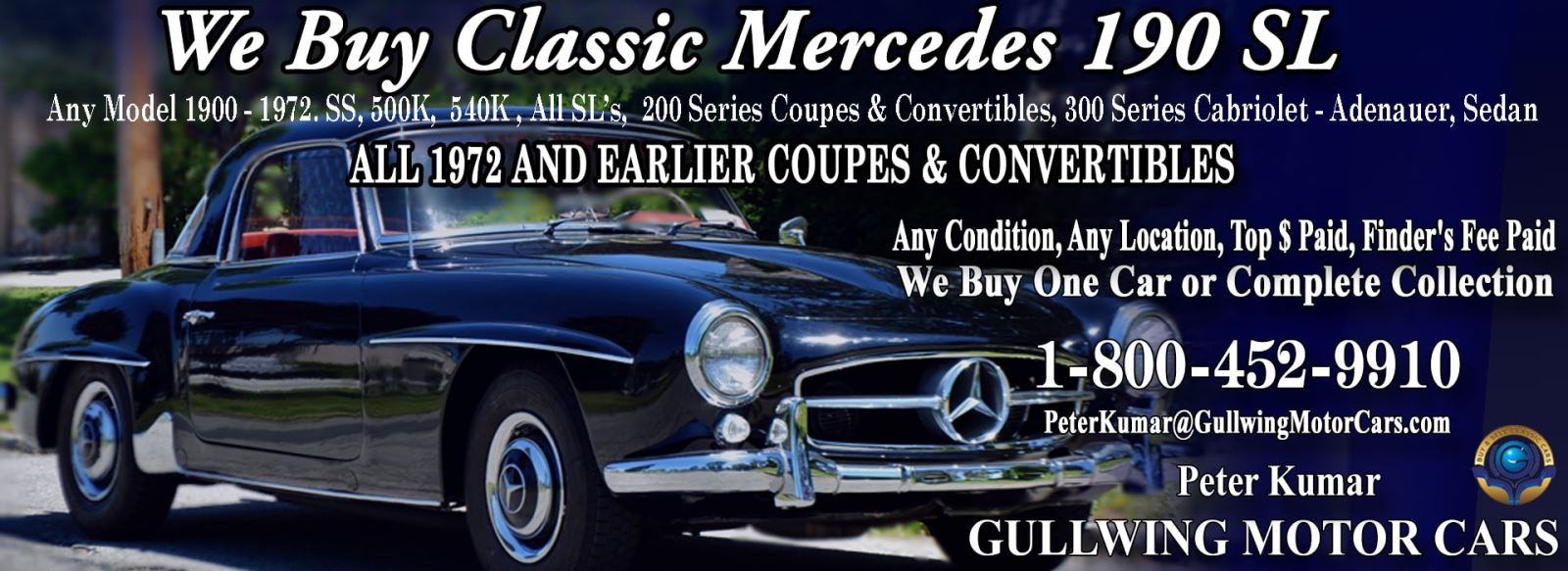 Classic Mercedes 190SL for sale, we buy vintage Mercedes 190SL. Call Peter Kumar. Gullwing Motor