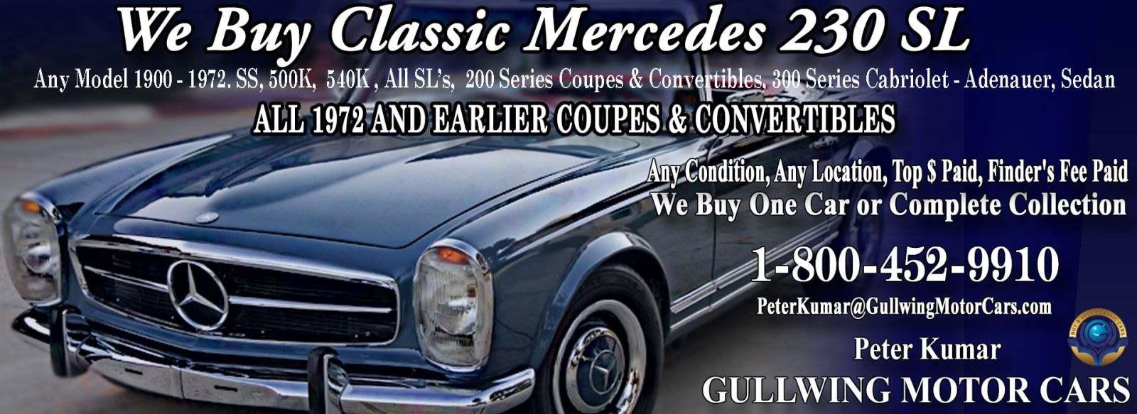 Classic 1963 Mercedes 230SL for sale, we buy vintage 63 Mercedes 230SL. Call Peter Kumar. Gullwing Motor