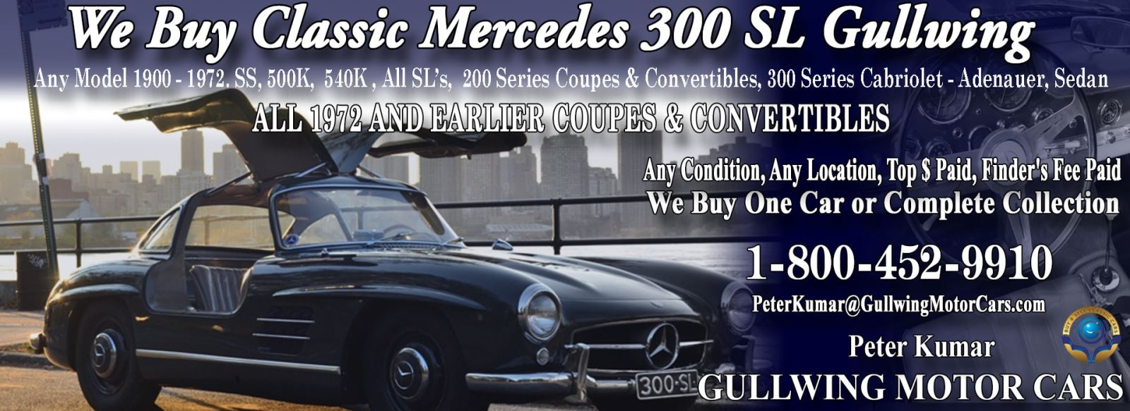 Classic Mercedes 300SL Gullwing for sale, we buy vintage Mercedes 300 SL Gullwing. Call Peter Kumar. Gullwing Motor