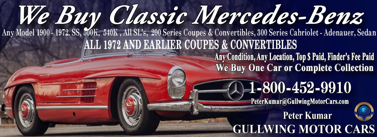 Classic Mercedes for sale, we buy vintage Mercedes. Call Peter Kumar. Gullwing Motor