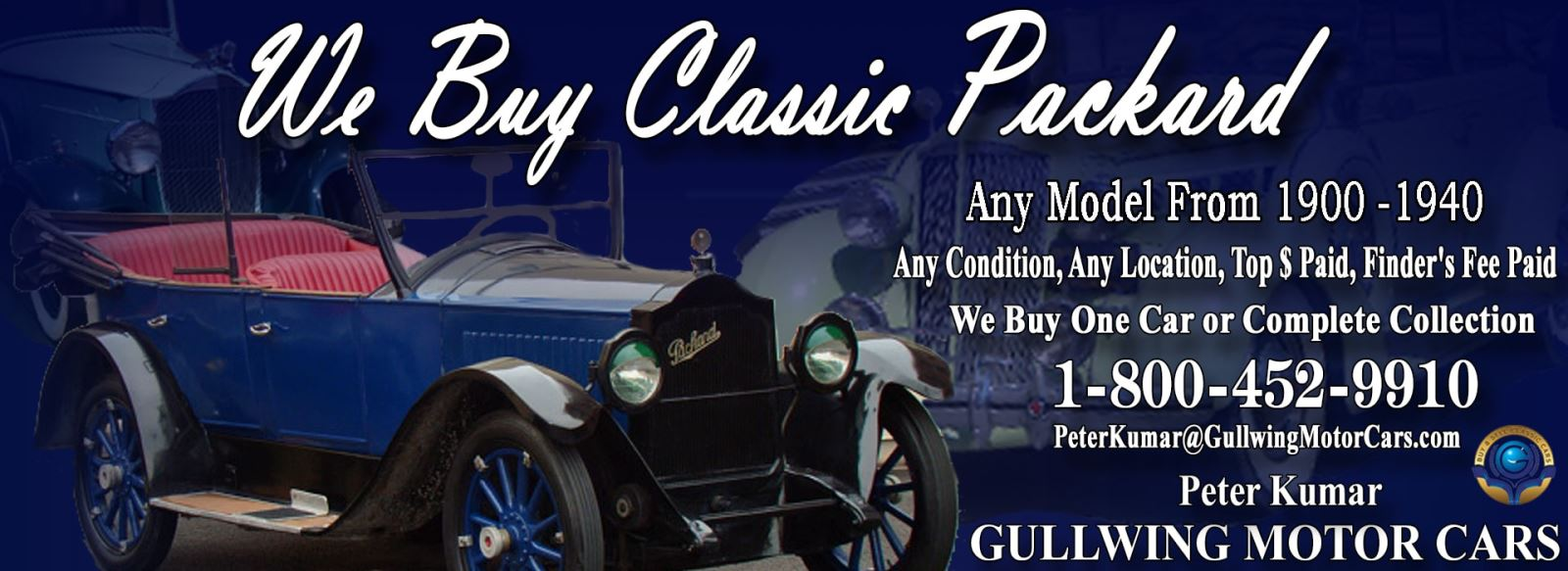 Classic Packard for sale, we buy vintage Packard. Call Peter Kumar. Gullwing Motor