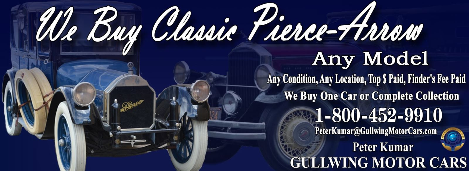 Classic Pierce Arrow for sale, we buy vintage Pierce Arrow. Call Peter Kumar. Gullwing Motor