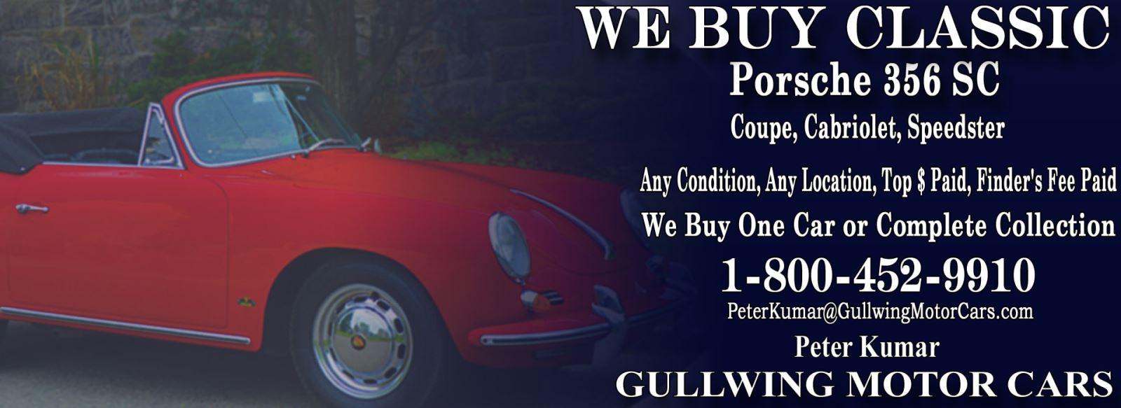 Classic Porsche 356 SC  for sale, we buy vintage Porsche 356 SC. Call Peter Kumar. Gullwing Motor