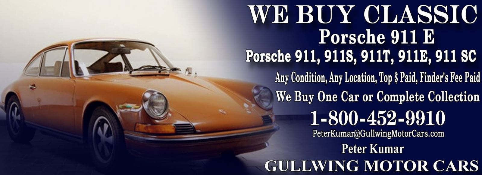 Classic Porsche 911E for sale, we buy vintage Porsche 911E. Call Peter Kumar. Gullwing Motor