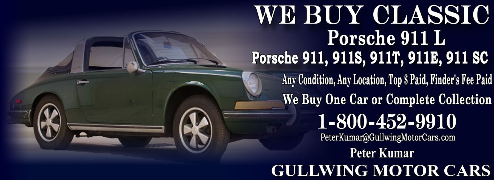 Classic Porsche 911L for sale, we buy vintage Porsche 911L. Call Peter Kumar. Gullwing Motor
