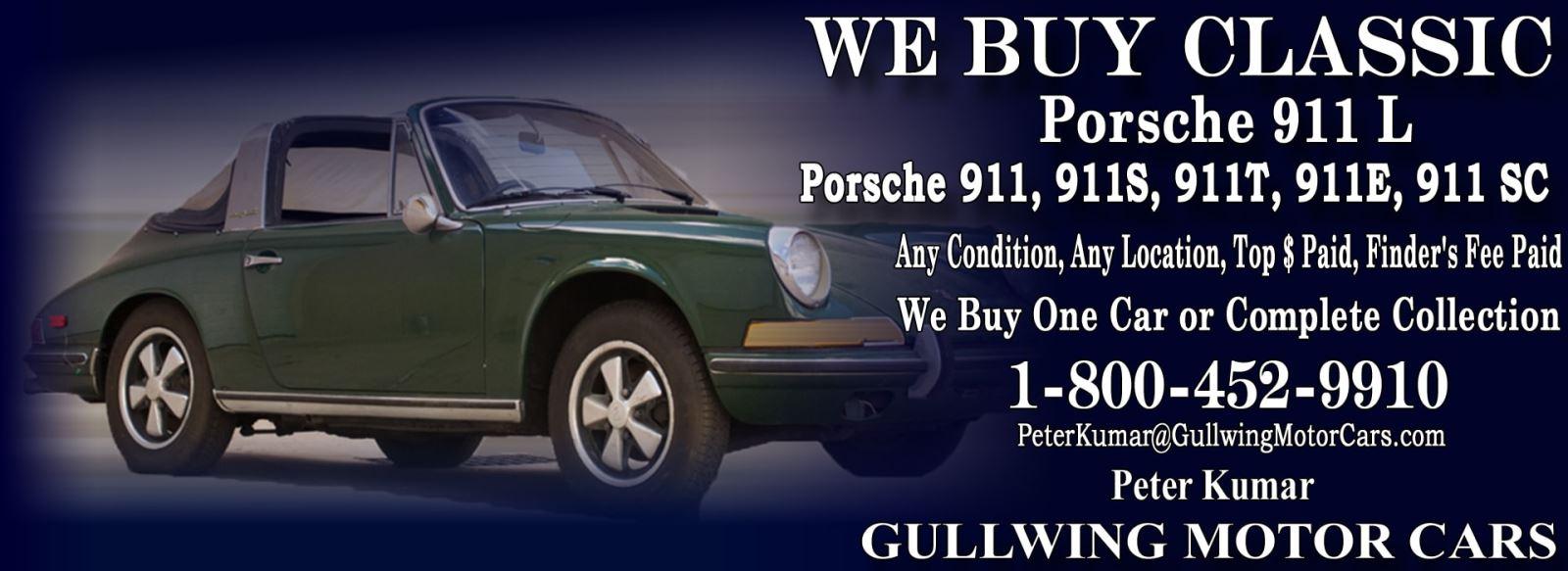 Classic Porsche 911L for sale, we buy vintage Porsche 911L. Call Peter Kumar. Gullwing Motor