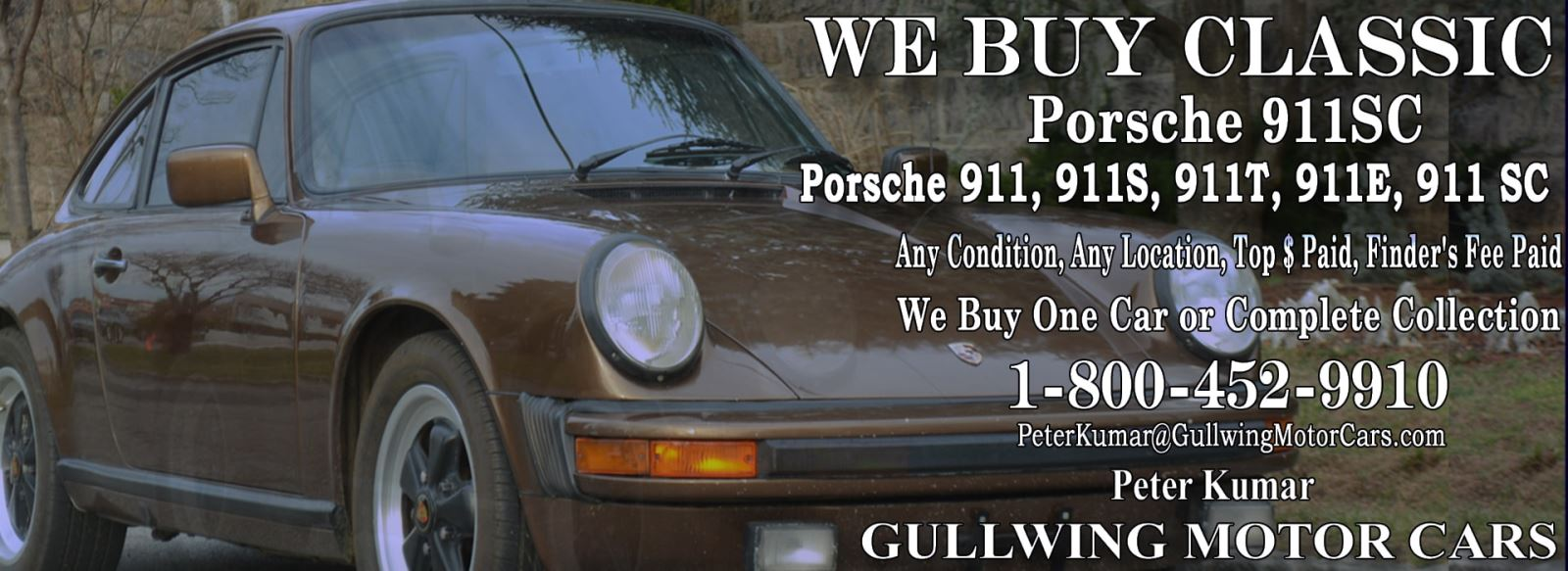 Classic Porsche 911SC for sale, we buy vintage Porsche 911SC. Call Peter Kumar. Gullwing Motor