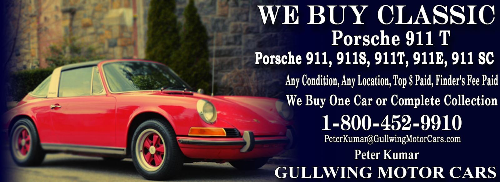 Classic Porsche 911T for sale, we buy vintage Porsche 911T. Call Peter Kumar. Gullwing Motor