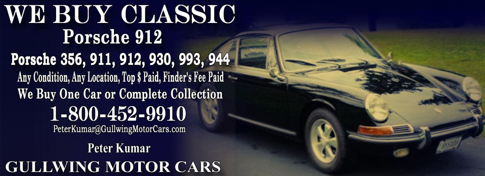 Classic Porsche 912 for sale, we buy vintage Porsche 912. Call Peter Kumar. Gullwing Motor