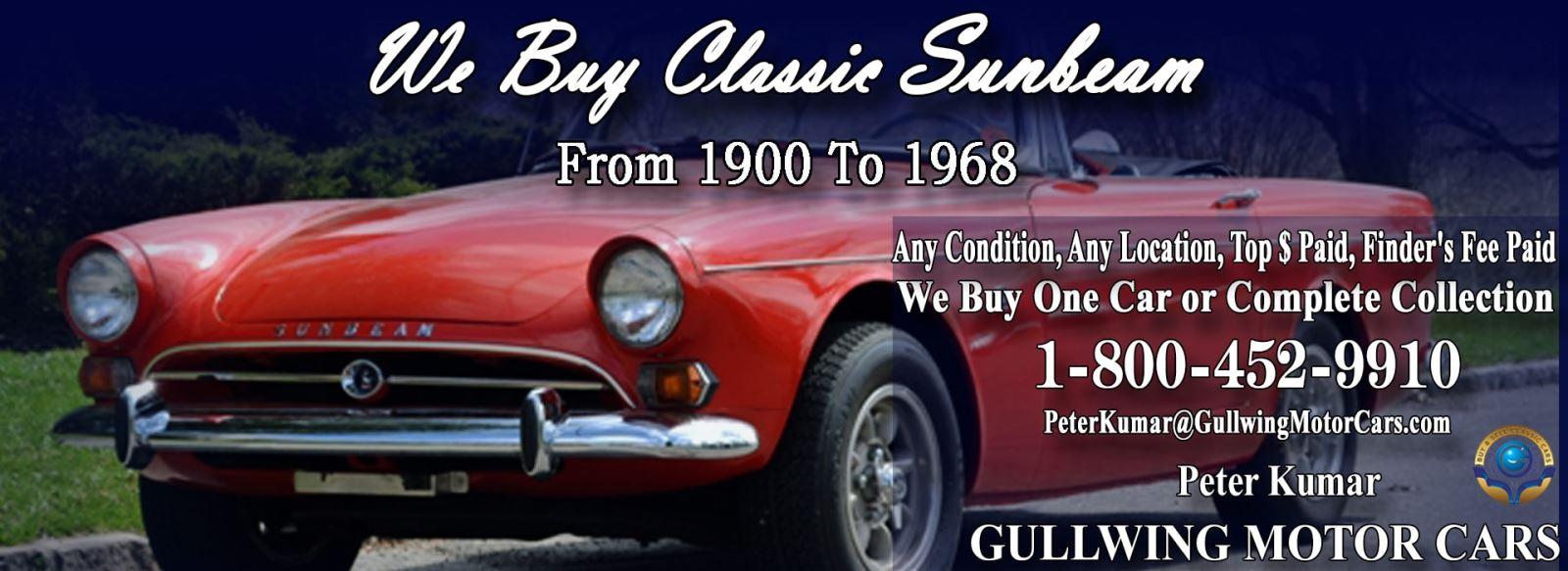 Classic Sunbeam for sale, we buy vintage Sunbeam. Call Peter Kumar. Gullwing Motor