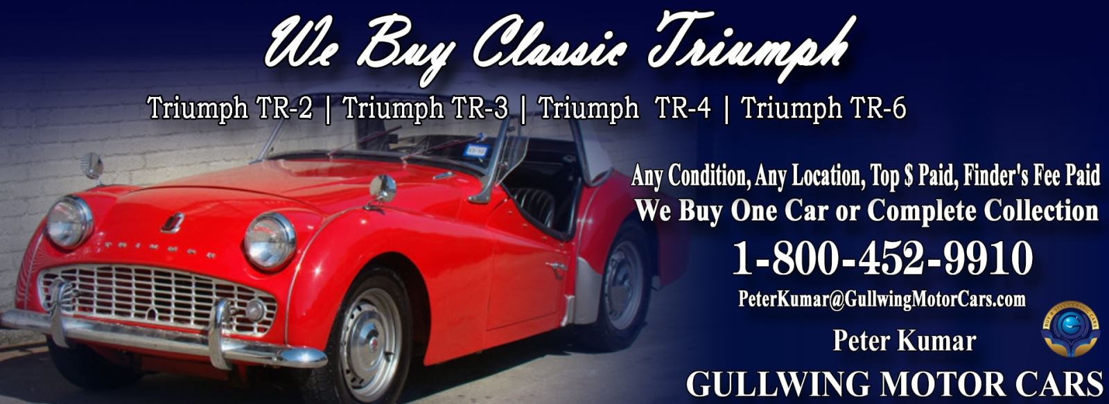 Classic Triumph for sale, we buy vintage Triumph. Call Peter Kumar. Gullwing Motor