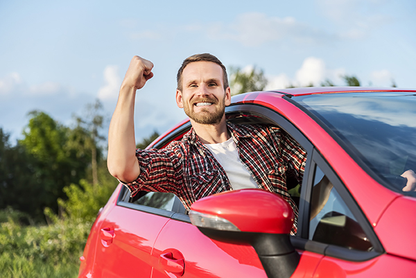 man enjoying rent to own cars